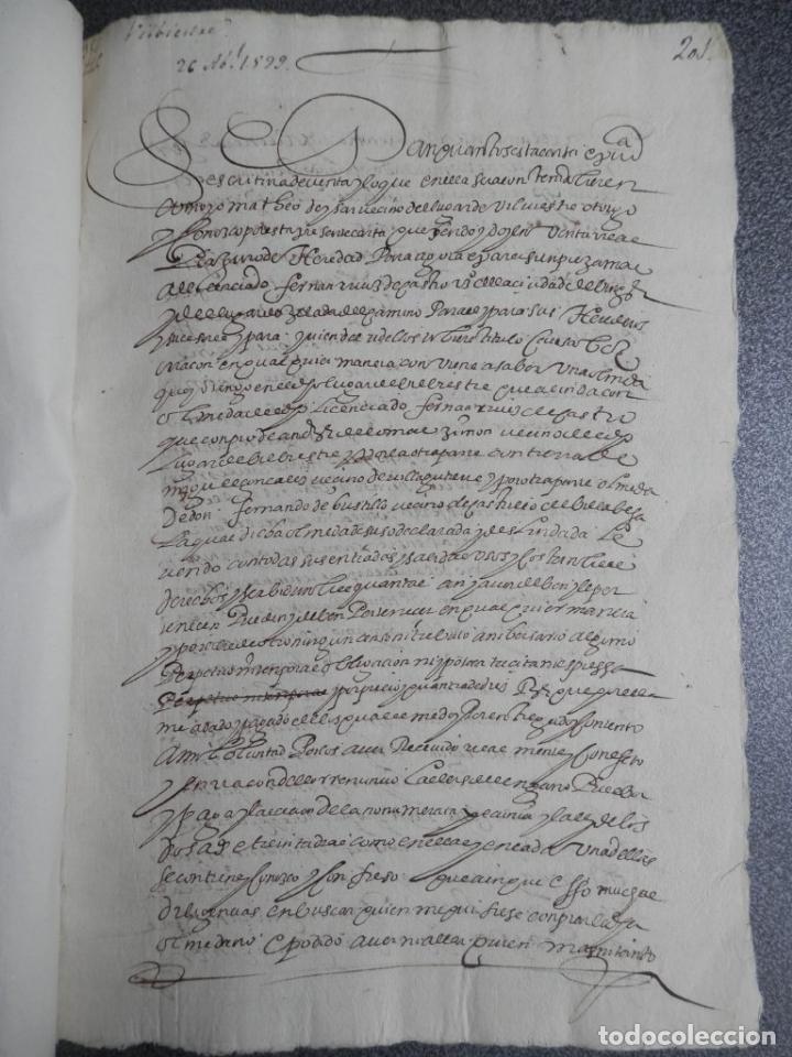 Manuscritos antiguos: MANUSCRITO FIRMADO AÑO 1599 VILVIESTRE - BURGOS ARRENDAMIENTO DE UNA OLMEDA, COMPLETO DE 5 PAGINAS - Foto 8 - 71171293