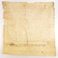 Manuscritos antiguos: TESTAMENTO, CATALUÑA AÑO 1490. PROV. DE GIRONA, SANT VICENÇ DE VILADASENS. PERGAMINO 35X35CM.. Lote 71233743