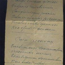 Manuscritos antiguos: ANTIGUO HIMNO AL SANTÍSIMO MANUSCRITO EN LATÍN SOBRE PAPEL EL PAPEL MIDE 34/12CM . Lote 73052751