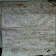 Manuscritos antiguos: ANTIGUO PERGAMINO MANUSCRITO CON FIRMA NOTARIO. Lote 73802441
