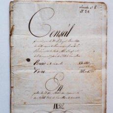 Manuscritos antiguos: GRANOLLERS, CALDES (BARCELONA) – SELLO 2º AÑO 1729 Y DOS SELLOS 1º 1852 – CENSAL. Lote 74469763