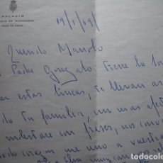Manuscritos antiguos: CARTA PALACIO MEDINA SIDONIA SANLUCAR DE BARRAMEDA PESAME. FIRMA ALFONSO.1969. Lote 75158755