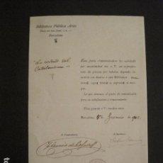 Manuscritos antiguos: DOCUMENTO BIBLIOTECA ARUS - DIRIGIDO A MANUEL MARINELLO I SAMUNTÀ- AÑO 1902 -VER FOTOS - (V-8865). Lote 75354927