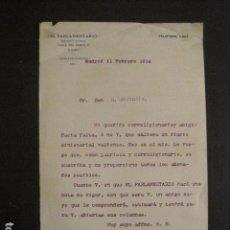 Manuscritos antiguos: DOCUMENTO EL PARLAMENTARIO - DIRIGIDO A MANUEL MARINELLO I SAMUNTÀ- AÑO 1914 -VER FOTOS - (V-8868). Lote 75359207