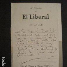 Manuscritos antiguos: DOCUMENTO EL LIBERAL - DIRIGIDO A MANUEL MARINELLO I SAMUNTÀ- AÑO 1913 -VER FOTOS - (V-8869). Lote 75360083