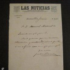 Manuscritos antiguos: DOCUMENTO LAS NOTICIAS - DIRIGIDO A MANUEL MARINELLO I SAMUNTÀ- AÑO 1913 -VER FOTOS - (V-8870). Lote 75361871