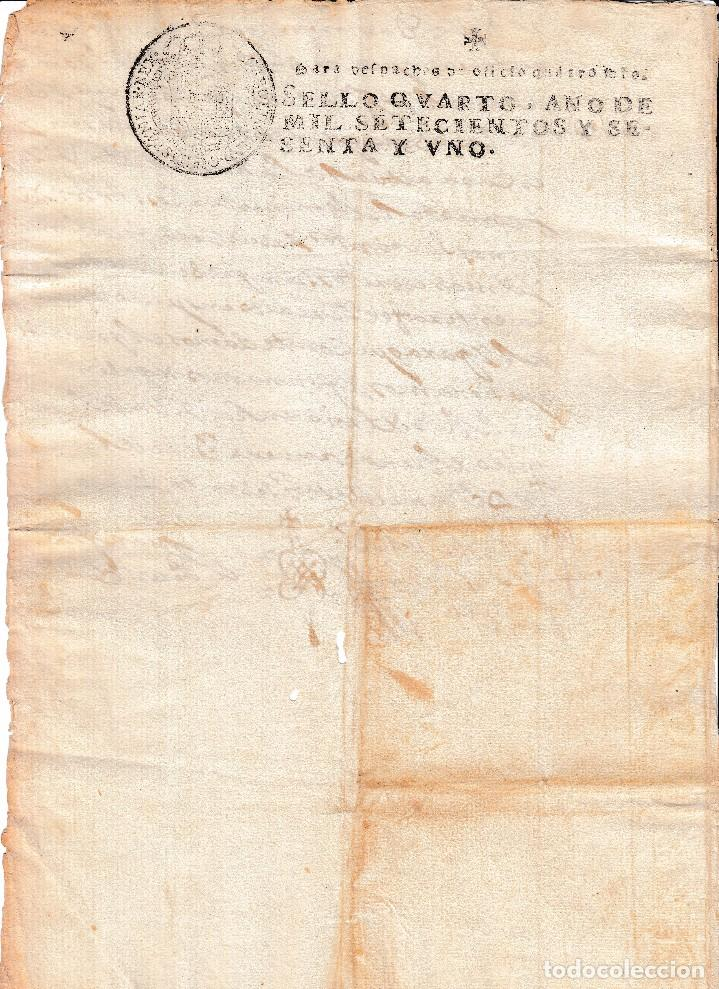 1761. SELLO DE OFICIO 4 MARAVEDIS DOCUMENTO MANUSCRITO PAPEL TIMBRADO (Coleccionismo - Documentos - Manuscritos)