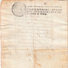 Manuscritos antiguos: 1761. SELLO DE OFICIO 4 MARAVEDIS DOCUMENTO MANUSCRITO PAPEL TIMBRADO. Lote 75532931