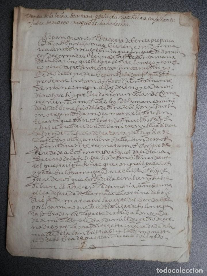MANUSCRITO DEL AÑO 1628 SANTA MARÍA DE VILLARIÑO A CORUÑA DE LA VENTA DE UNA LEIRA (Coleccionismo - Documentos - Manuscritos)