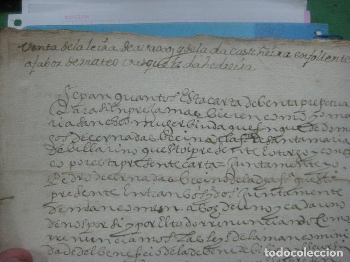 Manuscritos antiguos: MANUSCRITO DEL AÑO 1628 SANTA MARÍA DE VILLARIÑO A CORUÑA DE LA VENTA DE UNA LEIRA - Foto 8 - 75688995