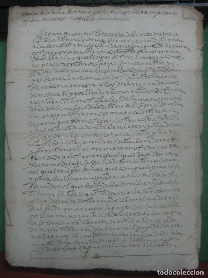Manuscritos antiguos: MANUSCRITO DEL AÑO 1628 SANTA MARÍA DE VILLARIÑO A CORUÑA DE LA VENTA DE UNA LEIRA - Foto 9 - 75688995