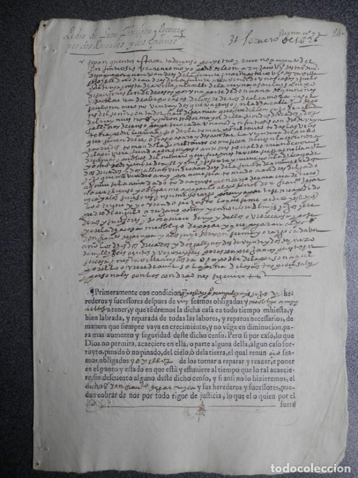 MANUSCRITO DEL AÑO 1626 MADRID RECONOCIMIENTO CENSO BONITO DE CASA EN CALLE REINA 92 (Coleccionismo - Documentos - Manuscritos)