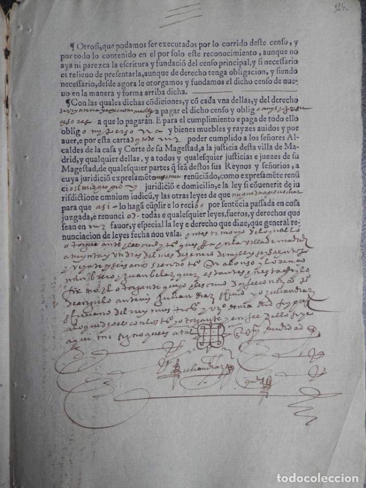 Manuscritos antiguos: MANUSCRITO DEL AÑO 1626 MADRID RECONOCIMIENTO CENSO BONITO DE CASA EN CALLE REINA 92 - Foto 3 - 75691255