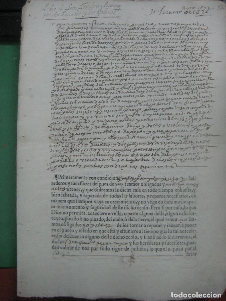 Manuscritos antiguos: MANUSCRITO DEL AÑO 1626 MADRID RECONOCIMIENTO CENSO BONITO DE CASA EN CALLE REINA 92 - Foto 5 - 75691255