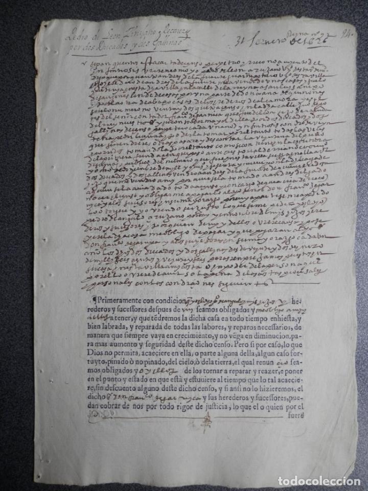 Manuscritos antiguos: MANUSCRITO DEL AÑO 1626 MADRID RECONOCIMIENTO CENSO BONITO DE CASA EN CALLE REINA 92 - Foto 12 - 75691255