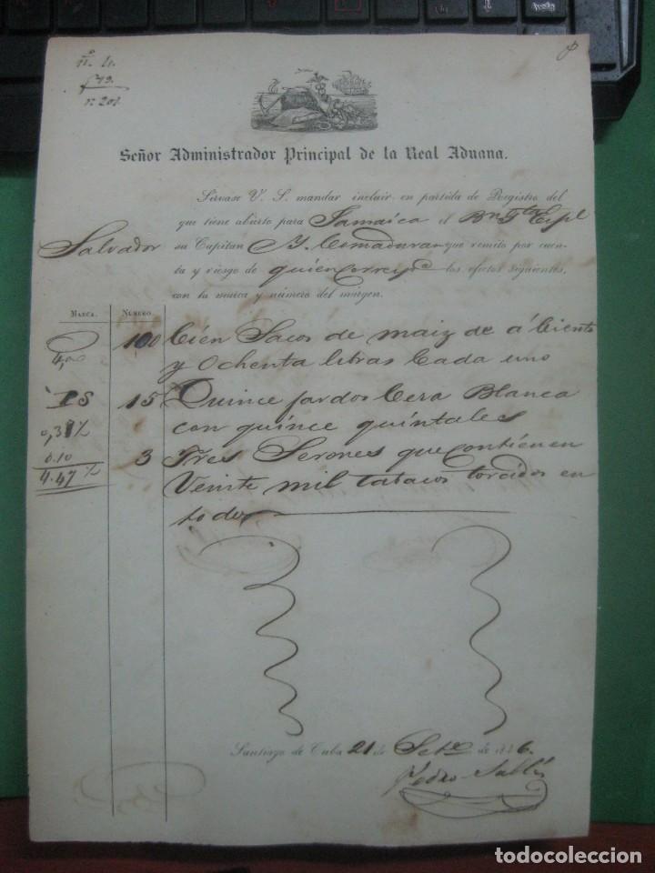 REAL ADUANA DE CUBA MANUSCRITO DEL AÑO 1846 TRANSPORTE DE TABACO BONITO DOCUMENTO FIRMADO (Coleccionismo - Documentos - Manuscritos)