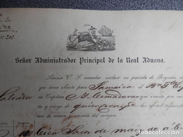 Manuscritos antiguos: REAL ADUANA DE CUBA MANUSCRITO DEL AÑO 1846 TRANSPORTE DE TABACO BONITO DOCUMENTO FIRMADO - Foto 2 - 75713159