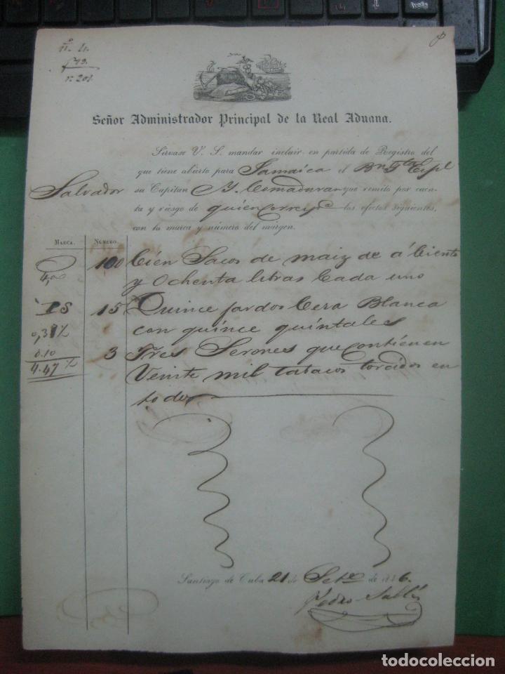 Manuscritos antiguos: REAL ADUANA DE CUBA MANUSCRITO DEL AÑO 1846 TRANSPORTE DE TABACO BONITO DOCUMENTO FIRMADO - Foto 13 - 75713159