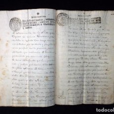 Manuscritos antiguos: TIMBROLOGÍA FISCAL 1783 SELLO 4º 20 MARAVEDIS. VALENCIA. 6 SELLOS. Lote 75823027