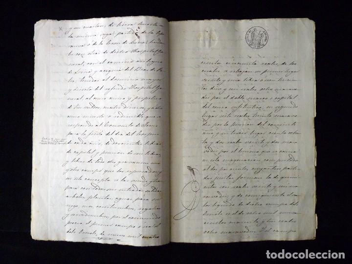 Manuscritos antiguos: TIMBROLOGÍA FISCAL 1860 SELLO ILUSTRES 60 REALES (2 SELL) + SELLO 4º 40 MARAVEDIS (2 SELL) VALENCIA - Foto 5 - 75826043