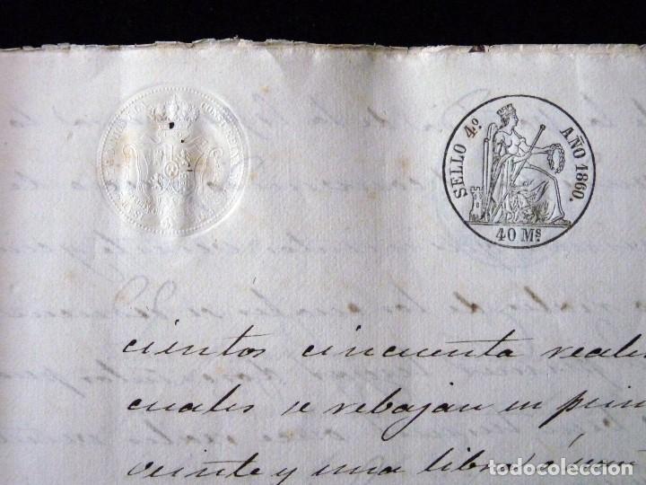 Manuscritos antiguos: TIMBROLOGÍA FISCAL 1860 SELLO ILUSTRES 60 REALES (2 SELL) + SELLO 4º 40 MARAVEDIS (2 SELL) VALENCIA - Foto 6 - 75826043