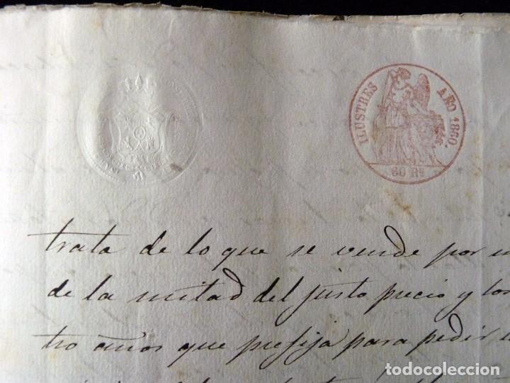 Manuscritos antiguos: TIMBROLOGÍA FISCAL 1860 SELLO ILUSTRES 60 REALES (2 SELL) + SELLO 4º 40 MARAVEDIS (2 SELL) VALENCIA - Foto 9 - 75826043