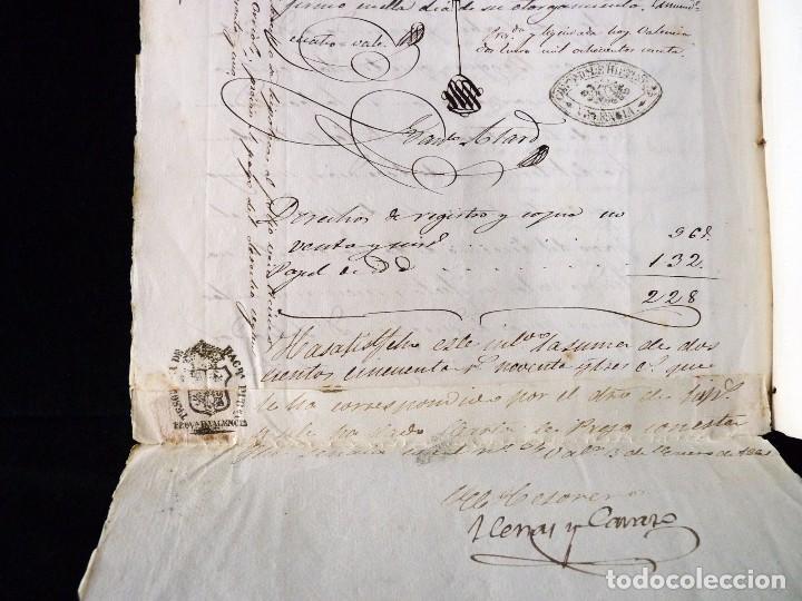 Manuscritos antiguos: TIMBROLOGÍA FISCAL 1860 SELLO ILUSTRES 60 REALES (2 SELL) + SELLO 4º 40 MARAVEDIS (2 SELL) VALENCIA - Foto 10 - 75826043