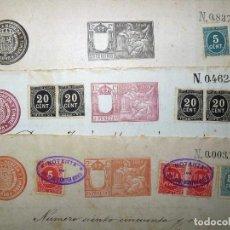 Manuscritos antiguos: TIMBROLOGÍA FISCAL 1898 SELLO 2º 75 PESETAS + 11º 2 PESETAS + 13º 75 CÉNTIMOS (4 SELLOS). 14 SELLOS . Lote 75951563