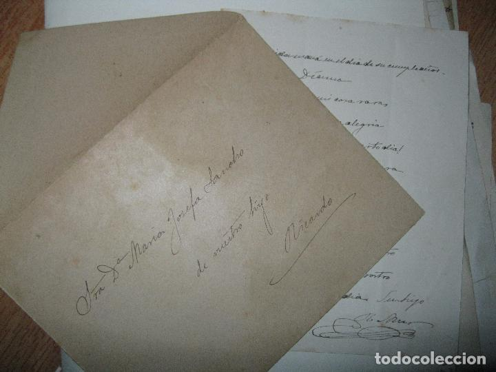 CARTA CON POESIA DECIMA MANUSCRITO VALENCIA SIGLO XIX RICARDO MUR SANCHO FIRMADA 1891 (Coleccionismo - Documentos - Manuscritos)