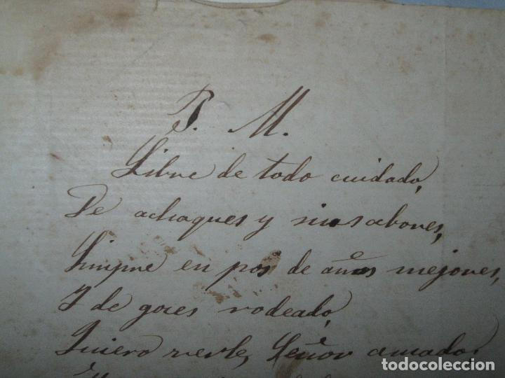 Manuscritos antiguos: MANUSCRITO POESIA RELIGIOSA CATOLICO A CURA SIGLO XIX FINALES FIRMADA JOAQUINA RADÓ ó BADO - Foto 2 - 26494743