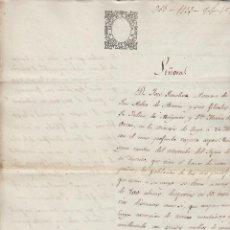 Manuscritos antiguos: LUGO: 1865 SELLO 9º 2 REALES .DOCUMENTO MANUSCRITO TIMBRADO PAPEL SELLADO. Lote 79038617