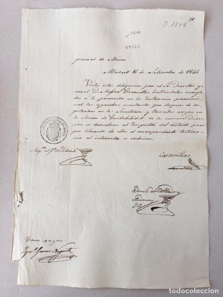 ISABEL II 1846 . MANUSCRITO. PAPEL SELLADO O TIMBRADO. SELLO DE OFICIO SECO 4 MARAVEDIS. (Coleccionismo - Documentos - Manuscritos)