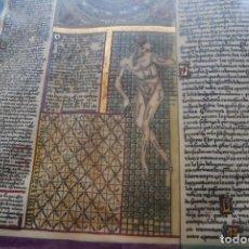 Manuscritos antiguos: PERGAMINO MANUSCRITO, ILUMINADO ASTROLOGÍA.. Lote 80759630