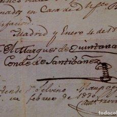 Manuscritos antiguos: DOCUMENTO, PAGARE 635 REALES, MARQUEZ DE QUITANAR, CONDE DE SANTIBAÑEZ, MADRID 1827. Lote 80802891