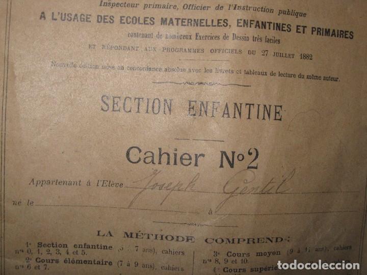 Manuscritos antiguos: LIBRETA MANUSCRITA CON DIBUJOS ANTIGUA ESCRITURA FRANCE METHODE POUR A RENAULT - Foto 3 - 80956504