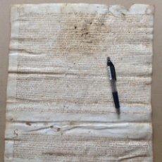 Manuscritos antiguos: AÑO 1547 MANUSCRITO EN PERGAMINO BANYOLES GIRONA BORGONYA CAMÓS * ABAD DEL MONASTERIO 44 CM. Lote 81174460
