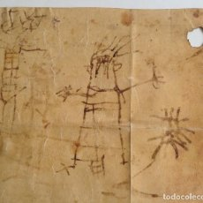 Manuscritos antiguos: AÑO 1500 * TARRAGONA * PERGAMINO MANUSCRITO CON DIBUJOS DE HOMBRES DE EPOCA EN EL REVERSO * 41 CM. Lote 81227068
