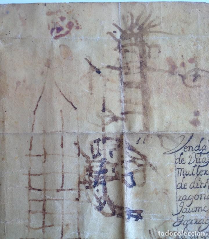 Manuscritos antiguos: Año 1500 * Tarragona * pergamino manuscrito con dibujos de hombres de epoca en el reverso * 41 cm - Foto 3 - 81227068