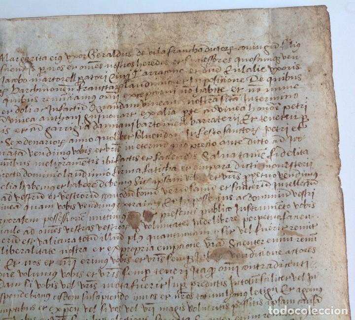 Manuscritos antiguos: Año 1500 * Tarragona * pergamino manuscrito con dibujos de hombres de epoca en el reverso * 41 cm - Foto 5 - 81227068
