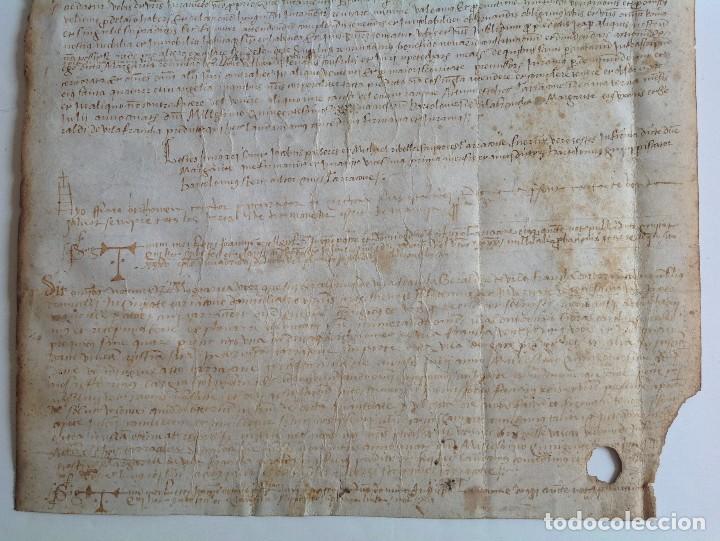 Manuscritos antiguos: Año 1500 * Tarragona * pergamino manuscrito con dibujos de hombres de epoca en el reverso * 41 cm - Foto 6 - 81227068
