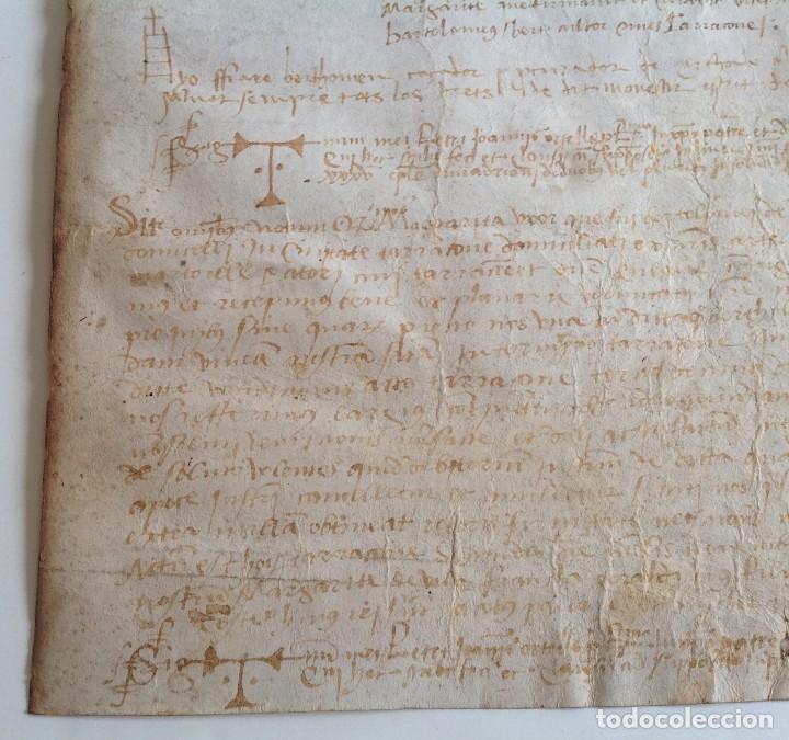 Manuscritos antiguos: Año 1500 * Tarragona * pergamino manuscrito con dibujos de hombres de epoca en el reverso * 41 cm - Foto 7 - 81227068