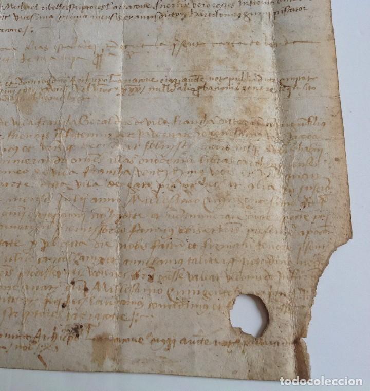 Manuscritos antiguos: Año 1500 * Tarragona * pergamino manuscrito con dibujos de hombres de epoca en el reverso * 41 cm - Foto 8 - 81227068