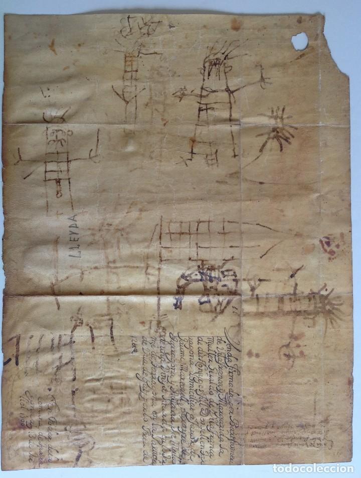 Manuscritos antiguos: Año 1500 * Tarragona * pergamino manuscrito con dibujos de hombres de epoca en el reverso * 41 cm - Foto 9 - 81227068