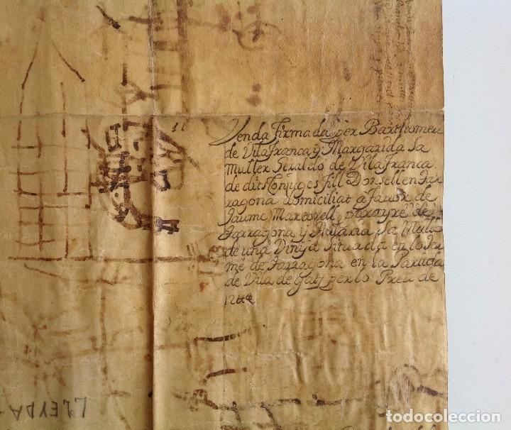 Manuscritos antiguos: Año 1500 * Tarragona * pergamino manuscrito con dibujos de hombres de epoca en el reverso * 41 cm - Foto 10 - 81227068