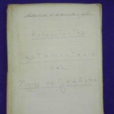 Manuscritos antiguos: MANUSCRITO DE 1897. HERENCIA DEL MARQUES DE GRAÑINA. LISTA DE PROPIEDADES POR TODA ESPAÑA 54 PAGINAS. Lote 81329892