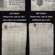 Manuscritos antiguos: 1637 SELLO POBRES SOLEMNIDAD 1643 OFICIO-PAPEL SELLADO-EL MÁS DIFÍCIL Y MAYOR VALOR- MURCIA O ARAGON. Lote 82660376