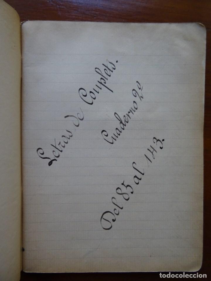 MÚSICA, CUPLÉ, LIBRETA CON LETRAS MANUSCRITAS DE 58 COUPLETS, (Coleccionismo - Documentos - Manuscritos)