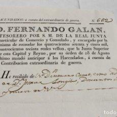 Manuscritos antiguos: CONTRIBUCION EXTRAORDINARIA DE GUERRA, VALENCIA 1811, FERNANDO VII. Lote 83601836