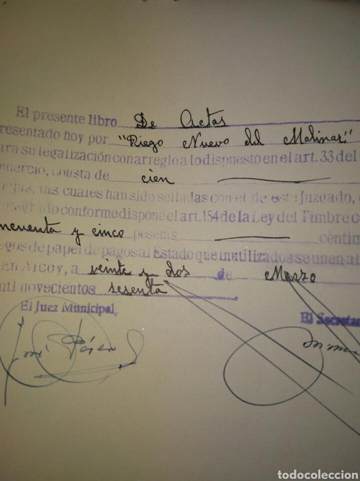 Manuscritos antiguos: LIBRO DE ACTAS MANUSCRITO 1960 DE LA COMUNIDAD DE REGANTES RIEGO NUEVO DEL MOLINAR ALCOY !!ÚNICO!! - Foto 4 - 84529627