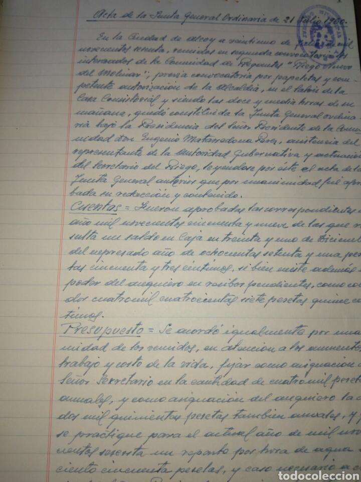 Manuscritos antiguos: LIBRO DE ACTAS MANUSCRITO 1960 DE LA COMUNIDAD DE REGANTES RIEGO NUEVO DEL MOLINAR ALCOY !!ÚNICO!! - Foto 5 - 84529627